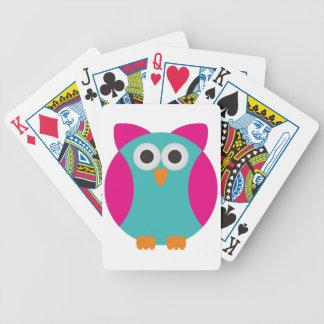 Cute colorful cartoon owl poker cards