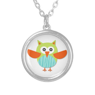 Cute colorful cartoon owl silver plated necklace