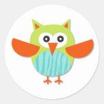 Cute colorful cartoon owl stickers