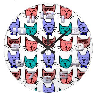 Cute Colorful Cats Clock