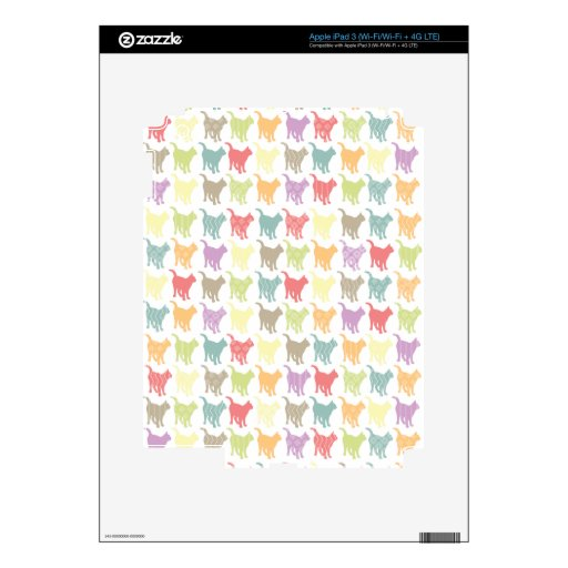 Cute Colorful Cats Pattern Decals For iPad 3