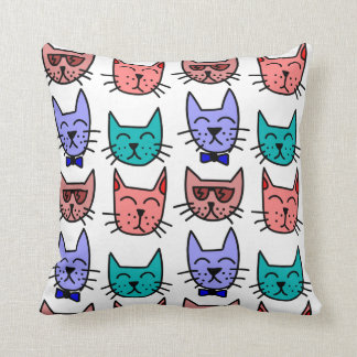 Cute Colorful Cats Throw Pillow