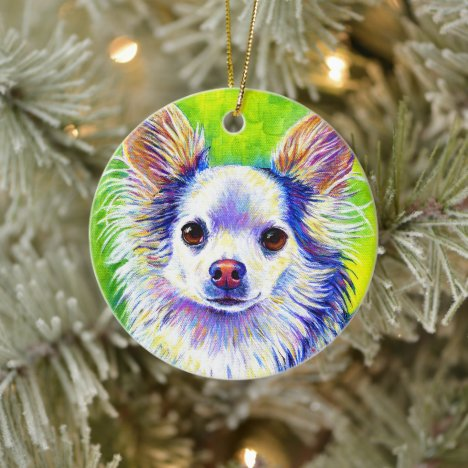 Cute Colorful Chihuahua Dog Ceramic Ornament