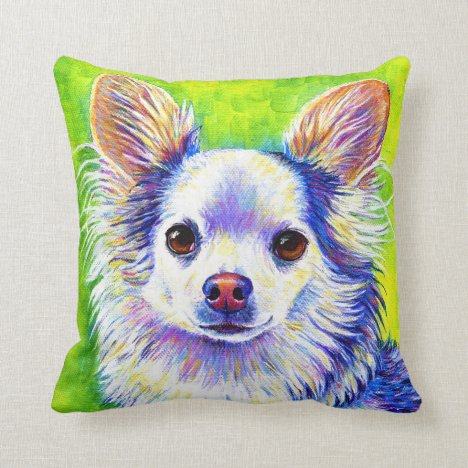 Cute Colorful Chihuahua Dog Throw Pillow