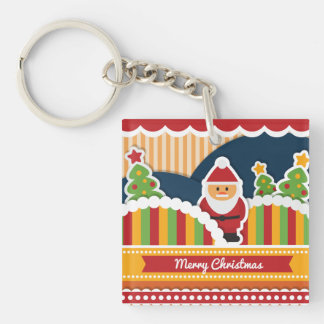 Cute colorful Christmas design with Santa Claus Keychain