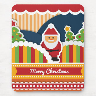 Cute colorful Christmas design with Santa Claus Mouse Pad
