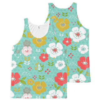 Cute Colorful Christmas Flowers & Tyography All-Over-Print Tank Top