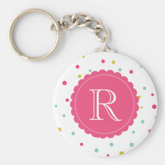 Cute Colorful Confetti Dots Pattern Monogram Keychain
