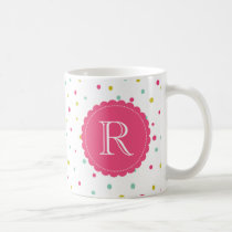 Cute Colorful Confetti Dots Pattern Monogram Mug