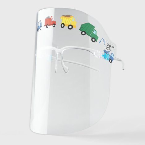 Cute Colorful Constructions Trucks Boys Face Shield