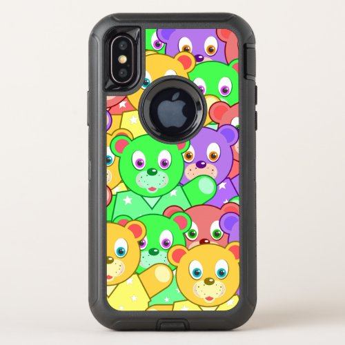 Cute Colorful Cool Teddy Bears OtterBox Defender iPhone X Case