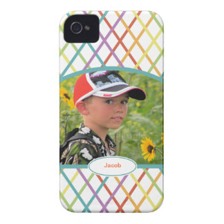 Cute Colorful CrissCross Personalized Photo iPhone 4 Case