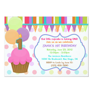 Cute Colorful Cupcake Birthday Invitation [one]