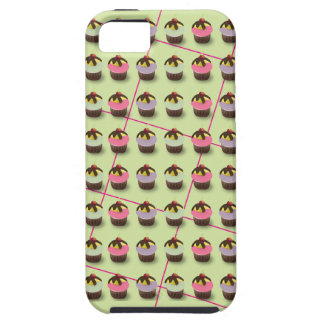 Cute Colorful Cupcakes on Green Plaid iPhone 5 Cases