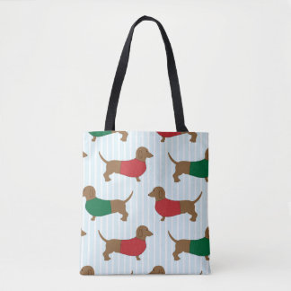 Cute Colorful Dachshunds Dogs Travel Tote Bag