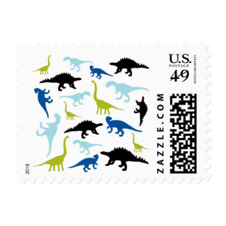 Cute colorful dinosaur pattern postage stamps