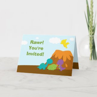 Cute colorful dinosaurs birthday party invitation card