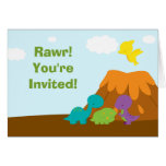Cute colorful dinosaurs birthday party invitation cards
