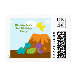 Cute colorful dinosaurs birthday party stamps