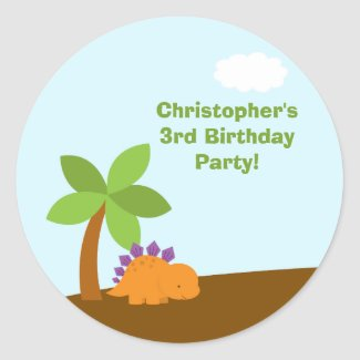 Cute colorful dinosaurs birthday party stickers sticker