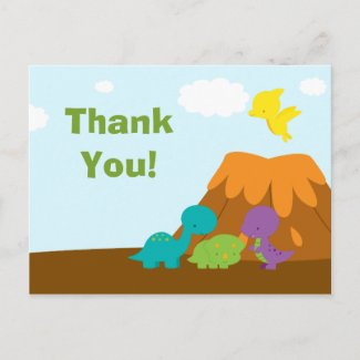 Cute colorful dinosaurs birthday party thank you postcard