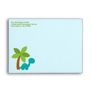 Cute colorful dinosaurs customizable envelope
