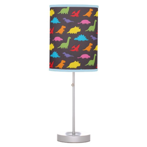Cute Colorful Dinosaurs Silhouette Pattern Kids Table Lamp