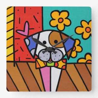 Cute Colorful Dog , For Any Kids Room Square Wall Clock