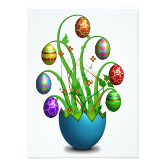 Cute Colorful Easter Egg Tree Personalized Invitations