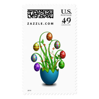 Cute Colorful Easter Egg Tree Postage Stamps