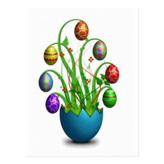 Cute Colorful Easter Egg Tree Post Card