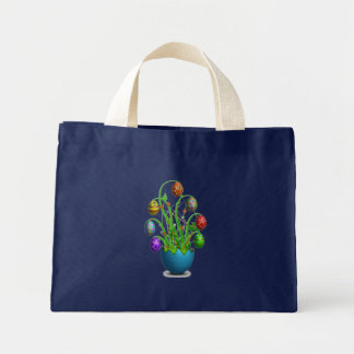 Cute Colorful Easter Egg Tree Small Navy Blue Mini Tote Bag