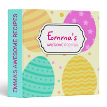 Cute colorful easter eggs pattern 3 ring binder