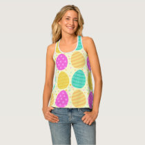 Cute colorful easter eggs pattern tank top