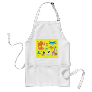 Cute Colorful Educational Animals Apron For Kids