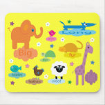Cute Colorful Educational Animals Yellow Custom Mouse Pad