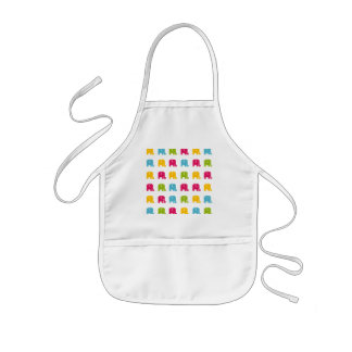 Cute Colorful Elephant Pattern Kids' Apron