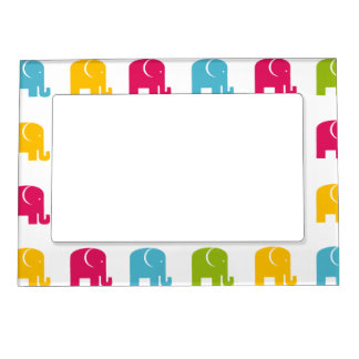Cute Colorful Elephant Pattern Magnetic Photo Frame