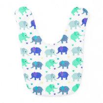Cute Colorful Elephants Baby Bib