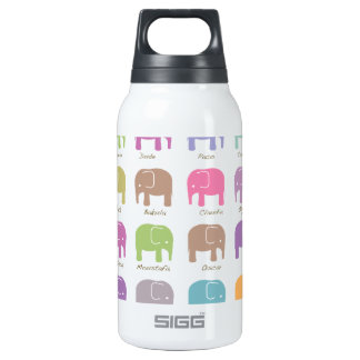 cute colorful elephants insulated water bottle