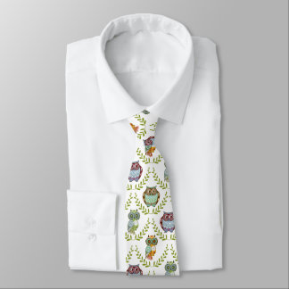 Cute Colorful Fall Colors Owls Pattern Neck Tie