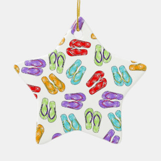 Cute Colorful Flip Flops Double-Sided Star Ceramic Christmas Ornament