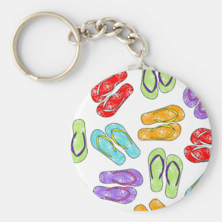 Cute Colorful Flip Flops Print Basic Round Button Keychain