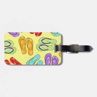 Cute Colorful Flip Flops Print - Yellow Bag Tag