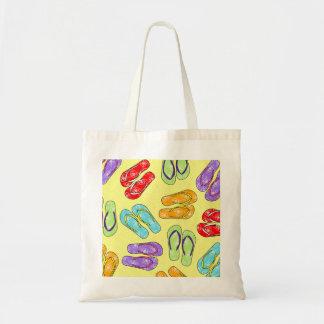 Cute Colorful Flip Flops Print - Yellow Budget Tote Bag