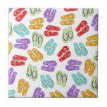 Cute Colorful Flip Flops Tile