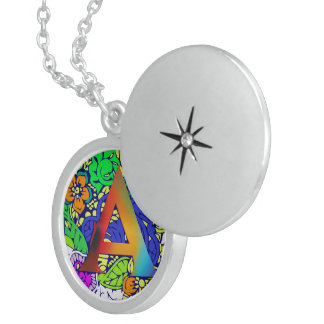 Cute Colorful Floral A monogrammed Pattern Girly Sterling Silver Necklace