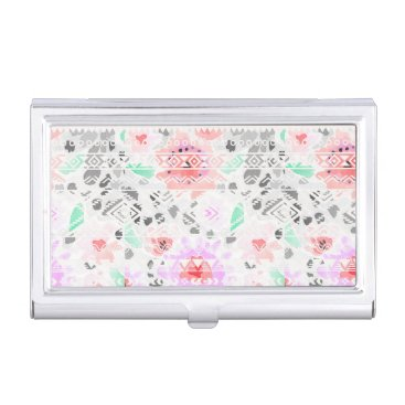Cute colorful floral aztec business card holder