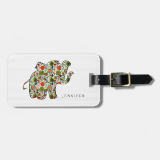 Cute Colorful Floral Baby Elephant Bag Tag