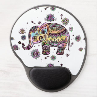 Cute Colorful Floral Baby Elephant Illustration Gel Mouse Pad